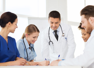 Doctors consulting each other