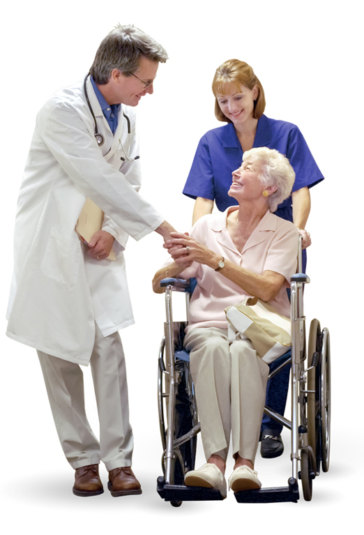 Doctor shaking hands with an elderly patient